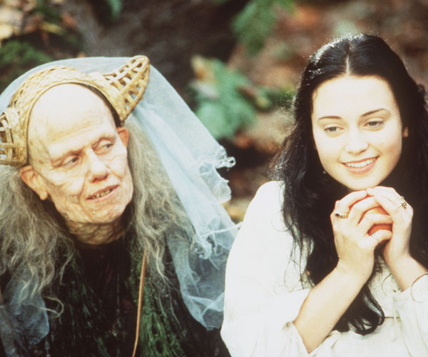 Sigourney Weaver, left, as the witch and Monica Keena as Snow White.