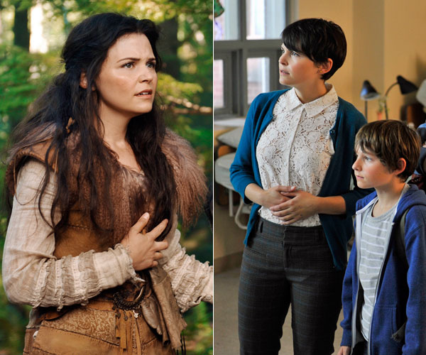 Ginnifer Goodwin as Snow White, left, and Storybrooke schoolteacher Mary Margaret.