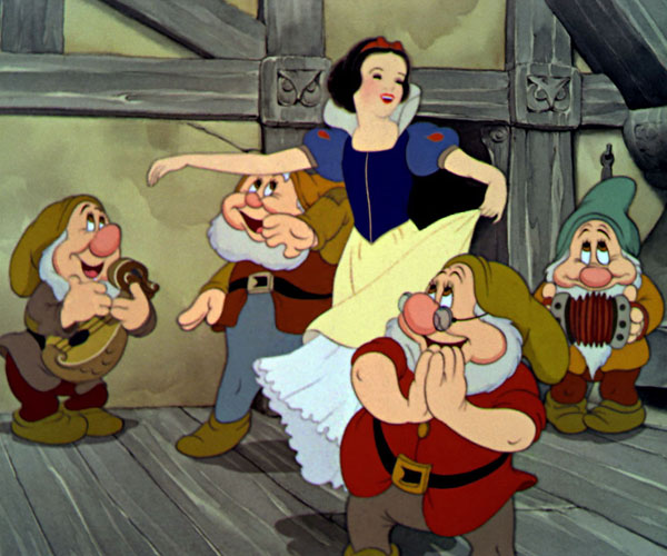 "Snow White dances to ""The Silly Song"" with the dwarfs."